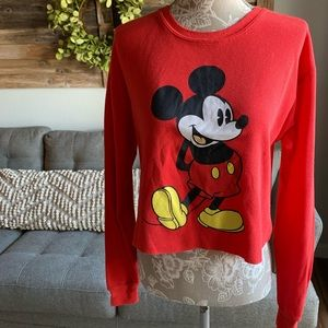 Disney Mickey Mouse Waffle Knit Crop Top
